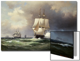 Square Riggers on the Open Sea Prints by Wilhelm Melbye