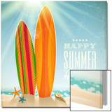 Holidays Vintage Design - Surfboards On A Beach Against A Sunny Seascape Prints by  vso
