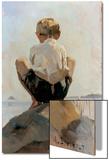A Boy Crouching on a Rock Print by Albert Edelfelt