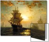 Segelschiffe Bei Sonnenuntergang Prints by Edward Moran