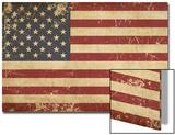 Usa Aged Flat Flag Print by  nazlisart