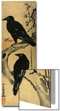 Two Crows on a Plum Branch with Rising Sun Prints by Kyosai Kawanabe
