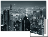 Hong Kong City Skyline At Night With Victoria Harbor And Skyscrapers Illuminated Prints by Songquan Deng