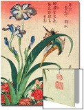 Kingfisher, Iris and Pinks, Pub. by Nishimura Eijudo, C.1832, One of a Set of Ten Prints Prints by Katsushika Hokusai