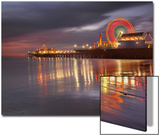 Santa Monica, California, USA Pier at Night, with Lights and Amusement Rides Poster by Patrick Smith
