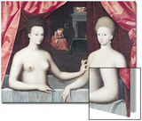 Gabrielle D'Estrees (1573-99) and Her Sister, the Duchess of Villars, Late 16th Century Prints