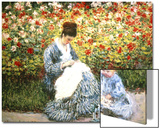 Madame Monet and Child in a Garden Print by Claude Monet