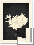 Black Map Iceland Prints by Rebecca Peragine