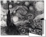 The Starry Night, June 1889 (Black & White) Prints by Vincent van Gogh