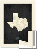Black Map Texas Print by Rebecca Peragine