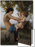 A Young Girl Defending Herself Against Eros, 1880 Art by William-Adolphe Bouguereau