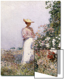 Lady in Flower Garden Prints by Childe Hassam