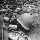 Human Skull, an Army Helmet, and Canned Food by the Side of the Ledo Road, Burma, July 1944 Photographic Print by Bernard Hoffman