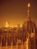 "The Duomo Topped by an Illuminated Statue of the ""Madonnina"", Milan, Italy Photographic Print by Ralph Crane"