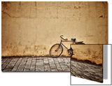 Old Vintage Bicycle Near The Wall Print by  pzAxe