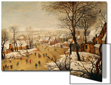 A Winter Landscape with Skaters and a Bird Trap Posters by Pieter Bruegel the Elder