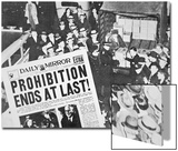 Headline Declaring the End of Prohibition, 6th December, 1933 Posters