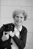 Portrait of Life Photographer Margaret Bourke-White Holding Her Black Cat, 1961 Photographic Print by Alfred Eisenstaedt