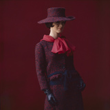 Model Dressed in a Matching Tweed Hat, Jacket, and Skirt by Yves St Laurent, Paris, France, 1962 Photographic Print by Paul Schutzer