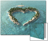 Aerial View Of Heart-Shaped Tropical Island Art by  Mike_Kiev