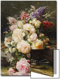Still Life with Roses, Syringas and a Blue Tit on a Mossy Bank Affiches par Jean Baptiste Claude Robie