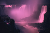 Iquassu (Iguacu) Falls on Brazil-Argentina Border, Once known as Santa Maria Falls, at Twilight Photographic Print by Paul Schutzer