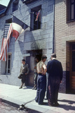 Civil Affairs Building in La Haye Du Puit Decorated with American and French Flags, France, 1944 Photographic Print by Frank Scherschel
