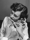 1949: Caliper Measuring 1-4,000 Faces to Determine Dimensions of Handset for New Bell Telephone Photographic Print by Eric Schaal