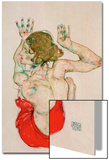 Female Nude Seated on Red Drapery Poster by Egon Schiele