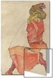 Kneeling Female in Orange-Red Dress, 1910 Art by Egon Schiele