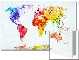 Watercolor World Map. Colorful Paint on White Paper. HD Quality Posters by PHOTOCREO Michal Bednarek