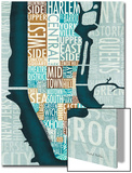 Manhattan Map Blue Brown Prints by Michael Mullan