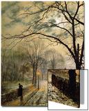 A Moonlit Stroll, Bonchurch, Isle of Wight, 1878 Art by John Atkinson Grimshaw