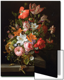 Still Life of Roses, Lilies, Tulips and Other Flowers in a Glass Vase with a Brindled Beauty Prints by Rachel Ruysch