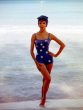 June 1956: Woman in Polka-Dot Swimsuit Modeling Beach Fashions in Cuba Photographic Print by Gordon Parks