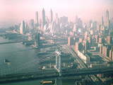 Helicopter Views of New York City's Manhattan and Brooklyn Bridges Photographic Print by Dmitri Kessel