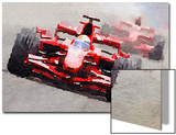 Ferrari F1 Race Watercolor Prints by  NaxArt
