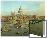 The River Thames with St. Paul's Cathedral on Lord Mayor's Day, Detail of St. Paul's Cathedral Posters by  Canaletto