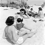 Models Sporting Adhesive Strapless Brassiere Designed by Charles L. Langs, Jones Beach, NY, 1949 Photographic Print by Nina Leen