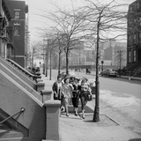 Teenage Girls Walking Down Sidewalk in Brooklyn, NY, 1949 Photographic Print by Ralph Morse