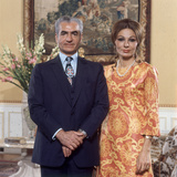 Shah of Iran Mohammad Reza Pahlavi and Wife Farah, 2500th Anniversary of Persia, Persepolis Photographic Print by Carlo Bavagnoli