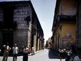 School Children and Passersby on St Ignaco Street in Havana, Cuba Photographic Print by Eliot Elisofon