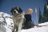 Young Blonde Boy on Skiis with St. Bernard Dog at Sun Valley Ski Resort, Idaho, April 22, 1947 Photographic Print by George Silk