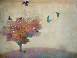 Oversized Crows Flying from Tree Art by Mia Friedrich