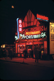 1945: Neon Lights Outside the Sportsman Cafe on 236 West 50th Street at Night, New York, NY Photographic Print by Andreas Feininger