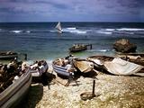 December 1946: a Fishing Fleet at Bathsheba, Barbados Photographic Print by Eliot Elisofon