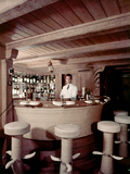 Bar on the Ship 'Christina O' Owned by Shipping Magnate Aristotle Onassis, 1954 Photographic Print by Dmitri Kessel