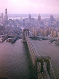 Helicopter View of the Brooklyn Bridge, New York City Photographic Print by Dmitri Kessel