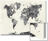 World Map in Watercolor Gray Prints by  paulrommer