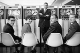 Ibm Executives Pose, Seated in Front of a Bank of 7094 Ii Computers, 1962 Photographic Print by Robert Kelley
